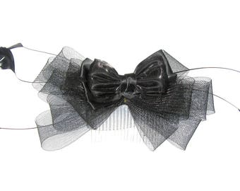 Large black bow and feather fascinator comb, weddings, races,ladies day