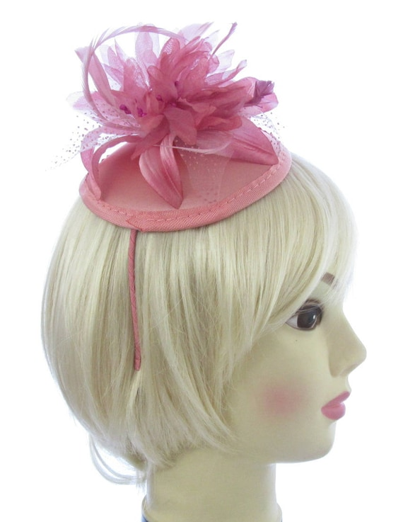 Dusky pink fascinator  hatinator juliet cap and  d06f9e17ecb