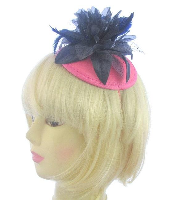 Navy Blue and Pink Hatinator headband   Wedding Races