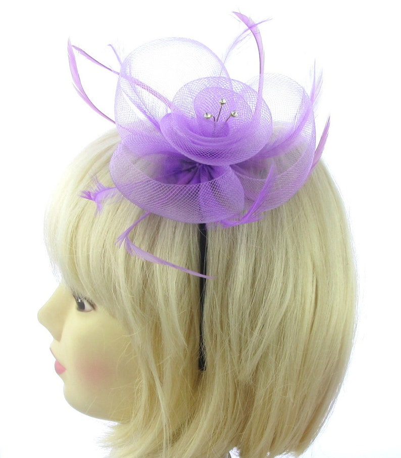 prom Light Green mesh feather and gems fascinator headband for weddings races