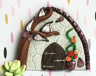 Fairy door, polymer clay, fairy garden props, pixie portal, woodland fairy, forest fairy door, wall decor, playroom decor, stone fairy door