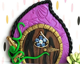 Fairy door, polymer clay, fairy garden props, pixie portal, woodland fairy, forest fairy door, wall decor, playroom decor, purple fairy door