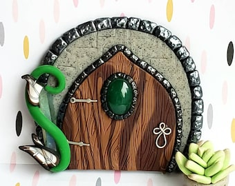 Fairy door, polymer clay, fairy garden props, pixie portal, woodland fairy, forest fairy door, wall decor, playroom decor, natural stone