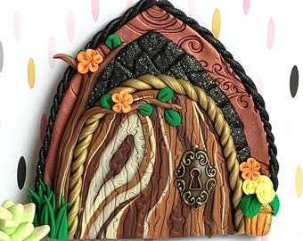 Fairy door, polymer clay, fairy garden props, pixie portal, woodland fairy, forest fairy door, wall decor, playroom decor, woodland door