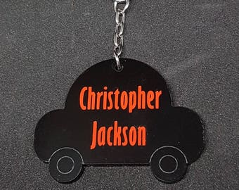 Personalised School Bag Tag Keyring,Car Shaped, Zipper pull, back to school,
