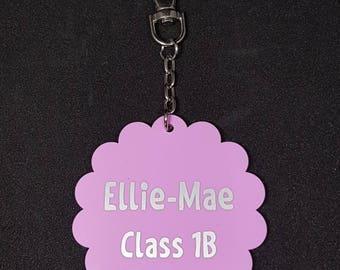 Personalised School Bag Tag Keyring,Flower Shaped, Zipper Pull, Back to School.