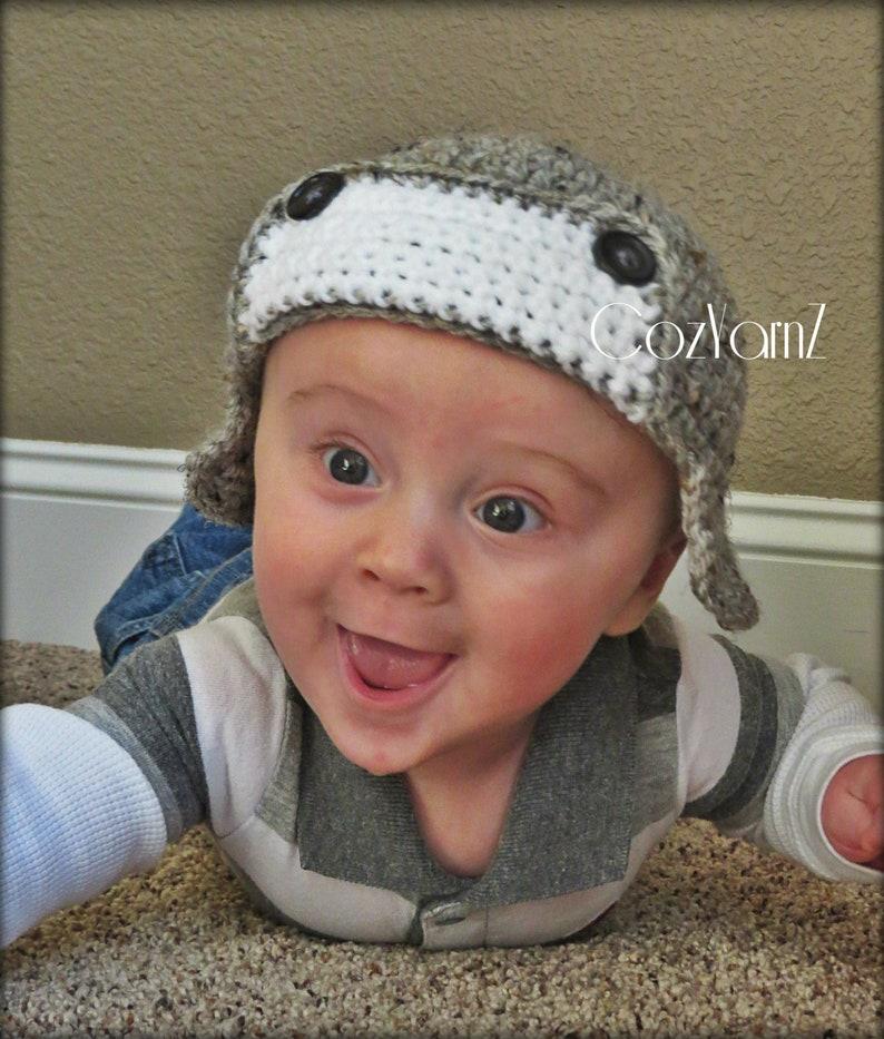2c99fa49493 Aviator hat crochet pilot hat baby hat with ear flaps