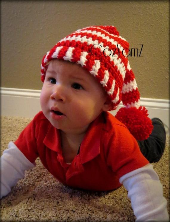 98ecb330f3e Christmas Elf Santa Pixie style long tail crochet striped