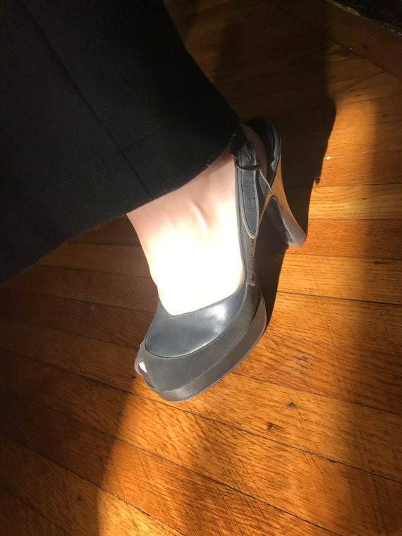 40s Platform Slingback Peep-toe Pumps