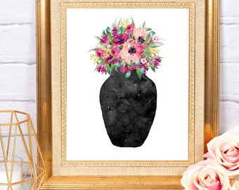 Flowers in Vase Printable Floral Art Digital Download Home Office Nursery Decor Wall Art Printable Instant Download Watercolor Art