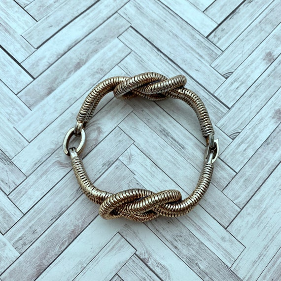Vintage Brass Gold Metal Double Link Braided Shoe Clips