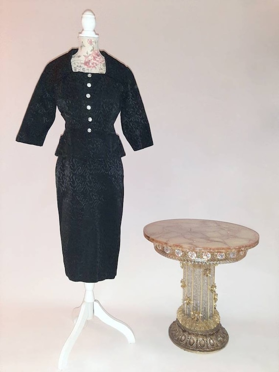 Vintage 1950s two piece black and pink dress and b