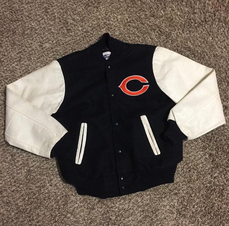 cheap for discount 09d4d d83b0 Vintage 80s Chalk Line NFL Football Chicago Bears Letterman Jacket Size  14/16