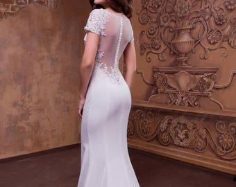 Sheer back simple wedding dress