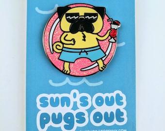 Pool Party Pug, Pug Hard Enamel Pin, Sun's Out Pugs Out, Pug swimming, Pug Pin, Dog Enamel Pin, Kawaii Pin