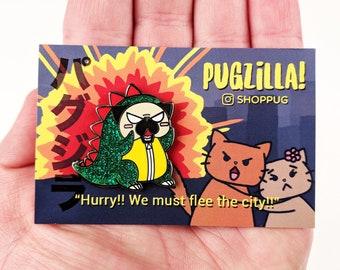 Pugzilla, Pug Hard Enamel Pin, Pug monster, Pug Pin, Dog Enamel Pin, Kawaii Pin, Japan