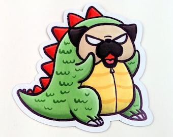 Pugzilla Vinyl Sticker, Pug monster sticker, Pug Sticker, Kawaii Sticker, Japan
