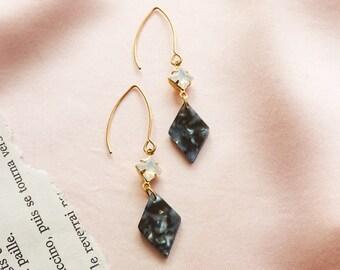 NEW - Adele earrings - Crystal & rhombus drops - Night sky