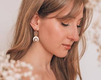 Luna moon drop earrings - White