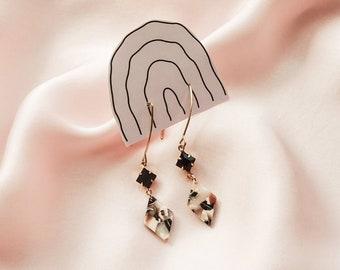 NEW - Adele earrings - Crystal & rhombus drops - Mocha