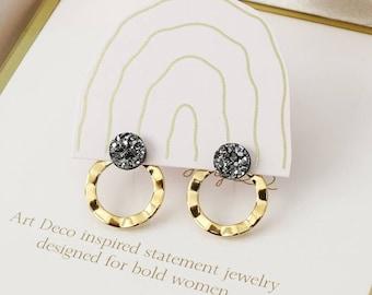 Emily round wavy ear jacket earrings - Gold