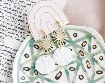 NEW - Celeste sun drop earrings -  Opalescent white