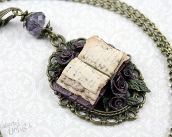 Book modeled vintage, bronze, purple, leaves, glass bead, Fimo roses - necklace - handmade,