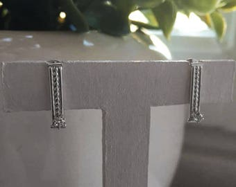 Silver earrings with white cz, Sterling silver