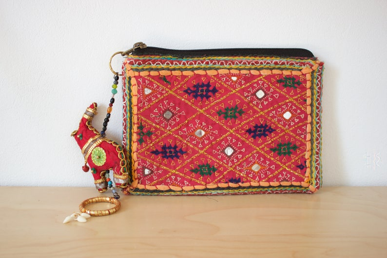 Wallet neon boho Bohemian Gypsy hippie tribal Gypsy embroidered  tassel purse make-up  Indian embroidery