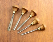 Rare Set of 5 Gouge Chisel Wood carving tools Chisel Woodcarving Sculpture carving Woodworking Сarpentry Professional forged tools