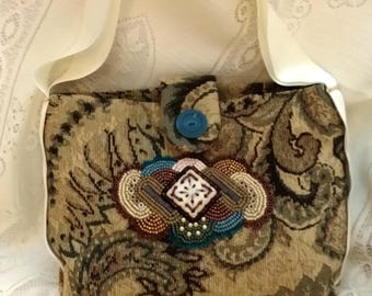 Beaded tapestry purse