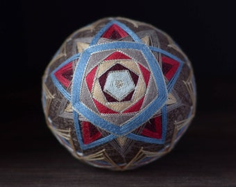 Temari ball Japanese art Japanese embroidery Grey Blue colour Home decor Unique gift Sphere Traditional Handmade ball Ornament Thread ball