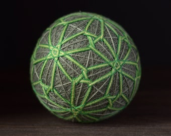 Temari ball Japanese art Japanese embroidery Green colour Home decor Unique gift Traditional art Sphere Handmade ball Ornament