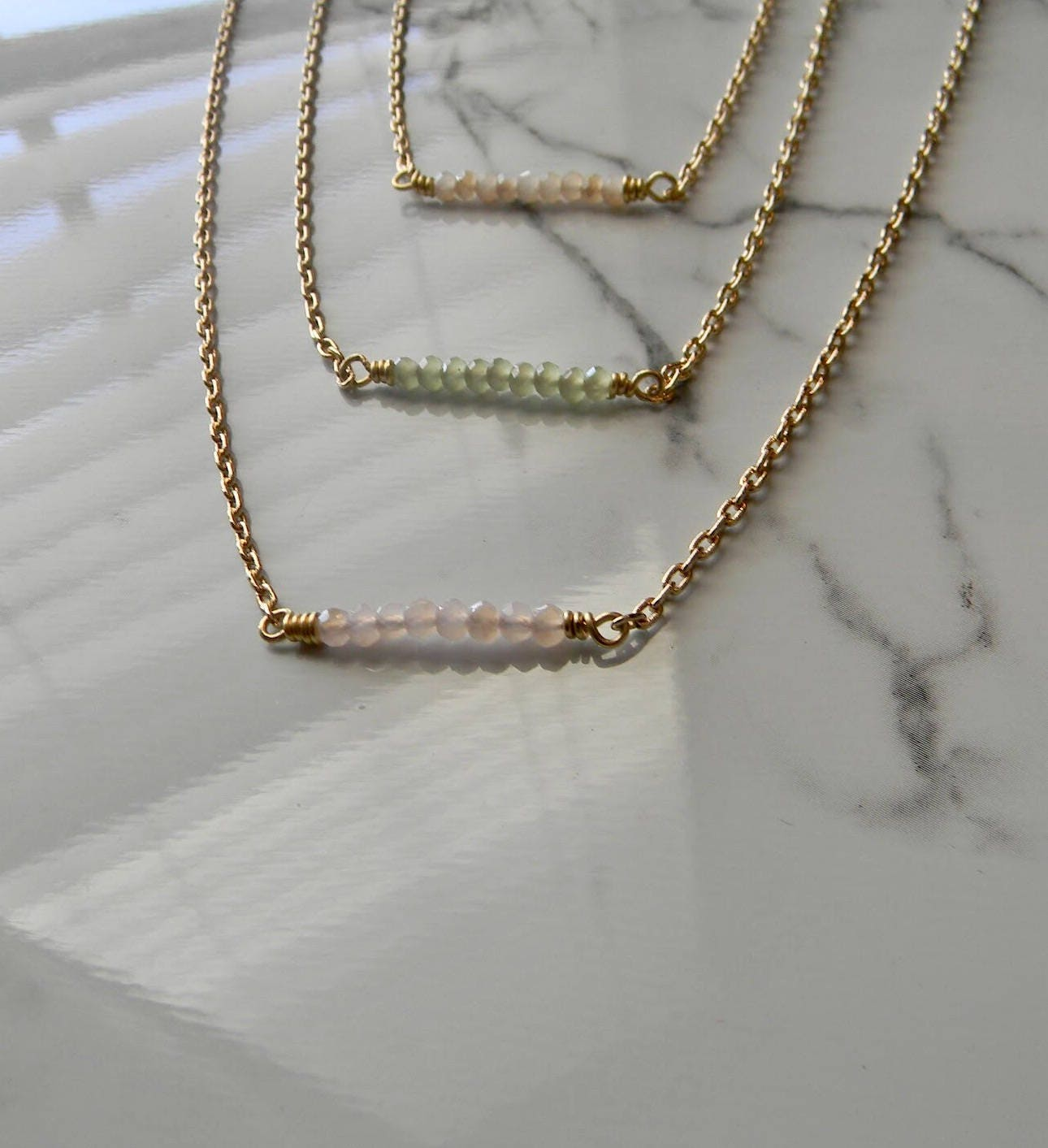Dainty 1 Beaded Bar Cable Chain Necklace (16 1.5 extender chain ...