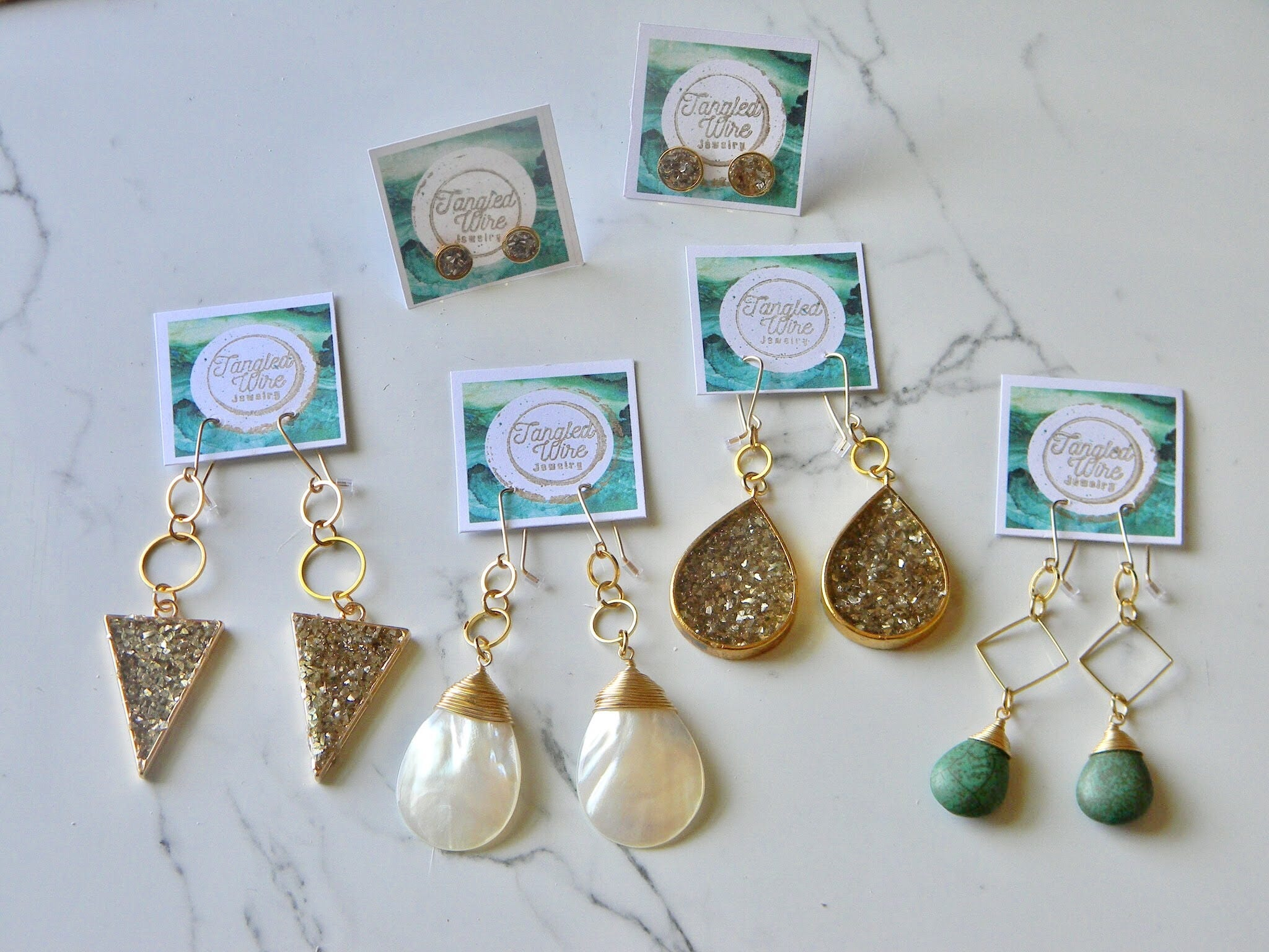 Gold Wire Wrap Mother of Pearl Teardrop Earrings