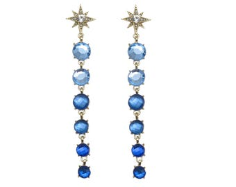 Blue Ombre Starburst Crystal Earrings