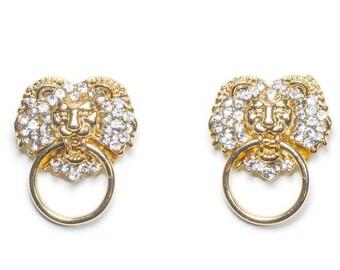 Leona Gold Lion Door Knocker Hoop Earrings
