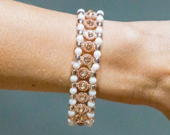 White Stone and Rose Gold Rhinestone Bracelet