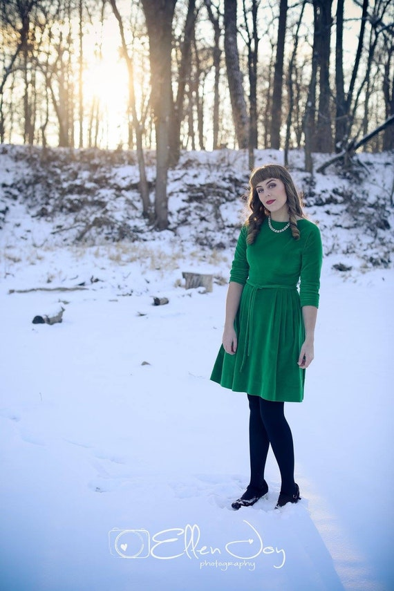 1950s Green Velvet Dress