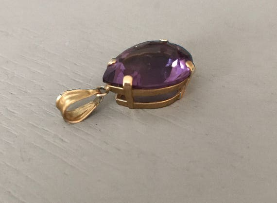 Pear Shaped Amethyst Pendant | Amethyst Solitaire… - image 3