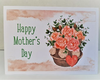 Mother's Day Greeting Card, For Mom, For Her, Mother's Day, Happy Mother's Day Greeting Card, Orange Roses and Basket Greeting Card