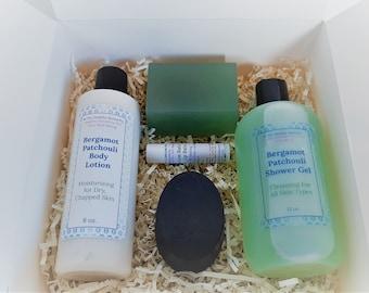 Bergamot Patchouli Gift Set, Birthday Gift, Thinking Of You Gift, Thank You Gift, Men's Bath and Body Gift, Gift Box for Men, Christmas Gift