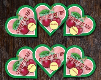Customizable and printable cherry themed valentines day cards for kids