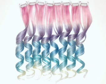 "18"" UNICORN RAINBOW PASTEL Pink Purple Blue Green Yellow Mermaid Ombre Real Human Hair Extensions Clip In Extensions  Festival Hair Weave"