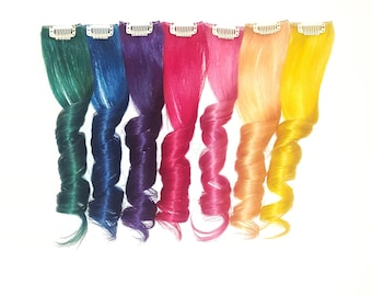 "2"" Wide - Set of 7 RAINBOW Unicorn Mermaid Real Human Hair Extensions Clip In Extensions, Festival Hair, Boho Hair Weave Hair Extensions"