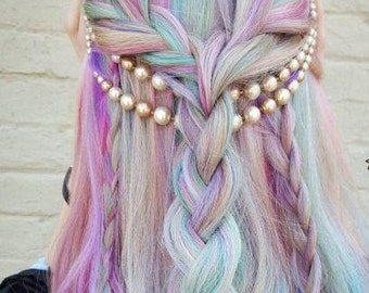 "18"" MOONLIGHT OPAL UNICORN Extensions Pink Purple Silver Mermaid Ombre Real Human Hair Extensions Clip In Extensions Boho Festival Hair"