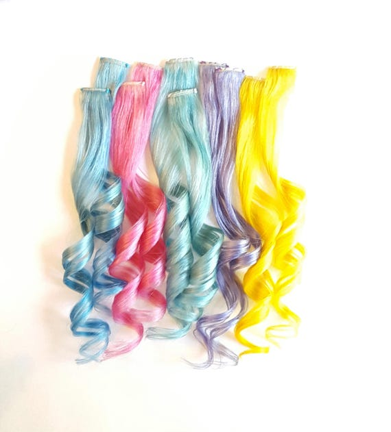 Clip In Pastel Hair Extensions Pastel Hair Mermaid Hair Etsy