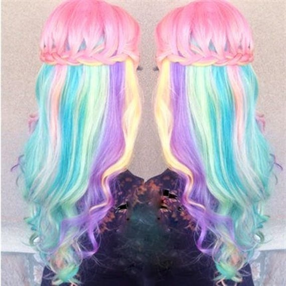 Rainbow Unicorn Mermaid Clip In Pastel Hair Extensions Etsy