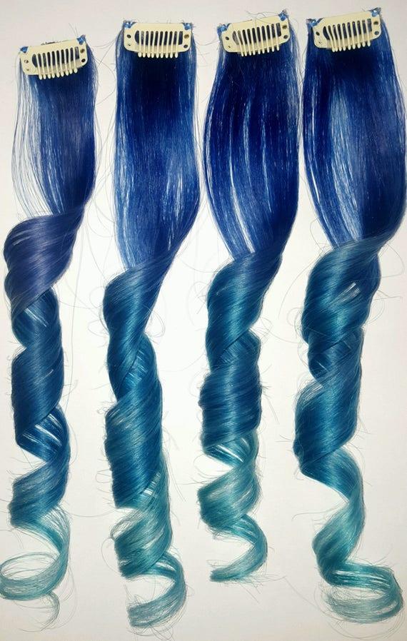 Teal Blue Mermaid Clip In Hair Extensions Mermaid Hair Teal Etsy
