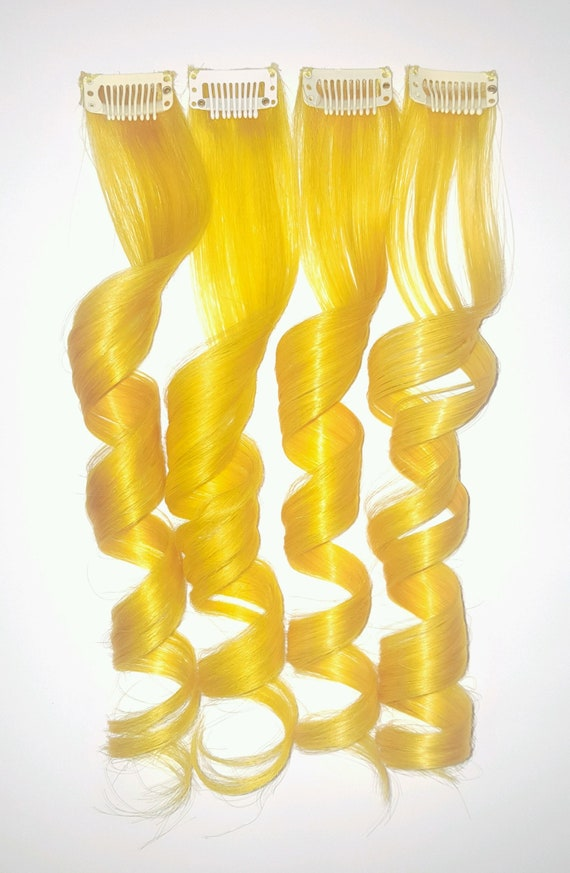 Clip In Hair Extensions, Yellow Hair, Mermaid